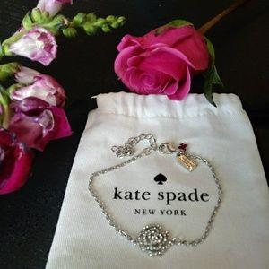 Kate Spade NWOT Silver/Crystal Rose Link Bracelet